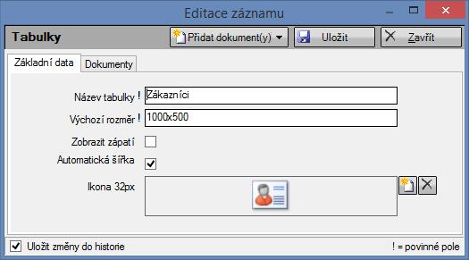 Editace tabulky Zákazníci